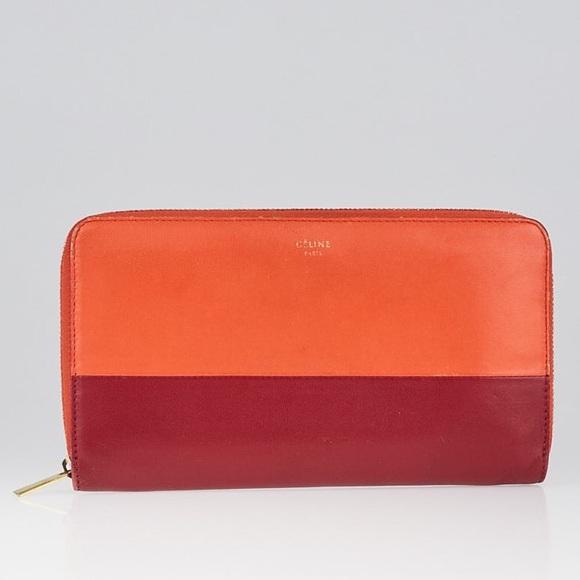 Celine Handbags - AUTHENTIC Céline Orange Red Bicolor Cont. Wallet